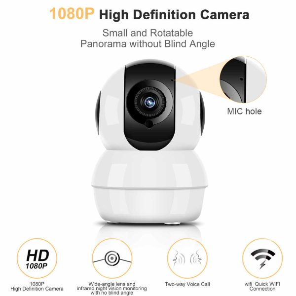 Hommie HD 1080P Wireless IP Camera   Night Vision with Micro