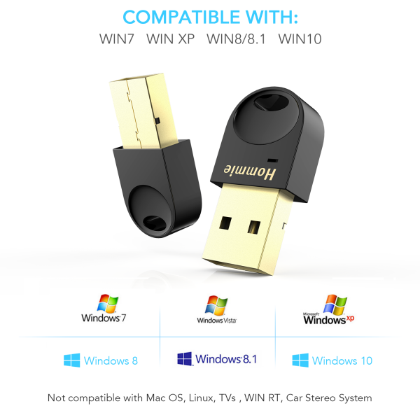 Hommie Bluetooth USB Dongle Adapter for PC, Plug and Play Bluetooth