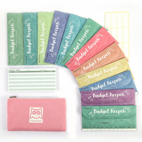 12 Pack Assorted Colors Cash Envelops Tear and Water Resistant Monthly Cash Envelope System for Money Saving and Budgeting